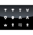 Trophy icons on black background vector image vector image
