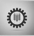wheat and gear icon on grey background vector image vector image