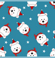 white bear santa claus with red scarf polka dot vector image vector image