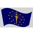 Flag of Indiana waving on gray background vector image