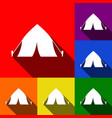 tourist tent sign set of icons with flat vector image