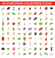 100 european countries icons set isometric style vector image vector image