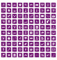100 telecommunication icons set grunge purple vector image vector image
