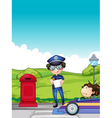 A girl caught by the traffic enforcer vector image vector image