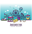 amusement park icons attraction banner vector image vector image