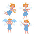 angel kid with angelic wings having halo holding vector image
