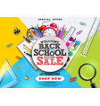 back to school sale design with colorful pencil vector image