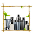 bamboo frame with male cosmetics vector image vector image