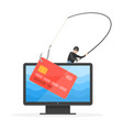 bank card on fishing hook and criminal with rod vector image