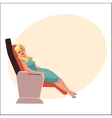 Beautiful blond woman sleeping in airplane vector image vector image