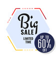 big sale limited time up to 60 off hexagon backgr vector image