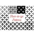 Black and white fleur-de-lis seamless patterns set vector image vector image
