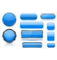 blue glass buttons collection of 3d icons vector image vector image