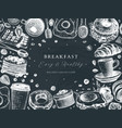 breakfast table top view frame on chalk board vector image vector image