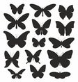 butterflies silhouette set vector image vector image