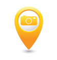 camera icon on map pointer yellow vector image vector image