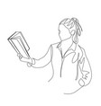 continuous one line woman hold a book in her hand vector image vector image