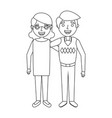 cute couple the old woman and man grandparents vector image vector image