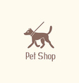 Cute pet shop logo with dog walking on leash vector image vector image