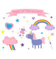 cute pink and lilac unicorn vector image vector image