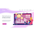 data monetization concept landing page vector image vector image