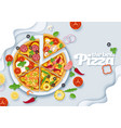 delicious italian pizza layered paper cut vector image