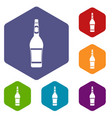 design bottle icons set hexagon vector image vector image