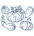 doodle pumkins set vector image vector image