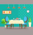 elegant design table restaurant blue interior vector image vector image
