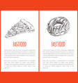 fast food pizza posters set vector image