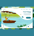 fisherman on boat with rod vector image