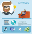Freelancer infographics and icons around Flat vector image