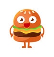 funny burger with big eyes standing cute cartoon vector image vector image