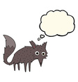 funny cartoon little wolf with thought bubble vector image vector image