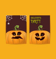halloween vertical cartoon posters set with vector image vector image