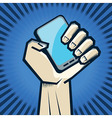 hand holding phone vector image vector image