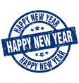 happy new year blue round grunge stamp vector image