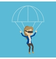 Happy woman in vr headset flying with parachute vector image vector image