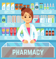 happy young woman pharmacist sells medications in vector image vector image
