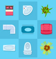 Home furniture colorful icons vector image