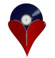 love music zipper heart vector image vector image