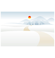 Path over Snow mountain landscape vector image