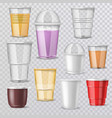 plastic glass empty plastic-cup or blank vector image