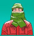 pop art portrait of man in warm winter clothes vector image