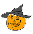 pumpkin with halloween hat on white background vector image