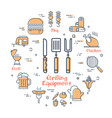round icons of grilling equipment grill concept vector image