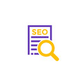 seo icon on white vector image vector image