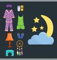 sleep icons set collection nap vector image vector image