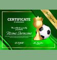 soccer certificate diploma with golden cup
