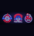 soccer collection neon signs football set vector image